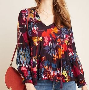 Anthropologie Amber Tiered Print Peasant Bl